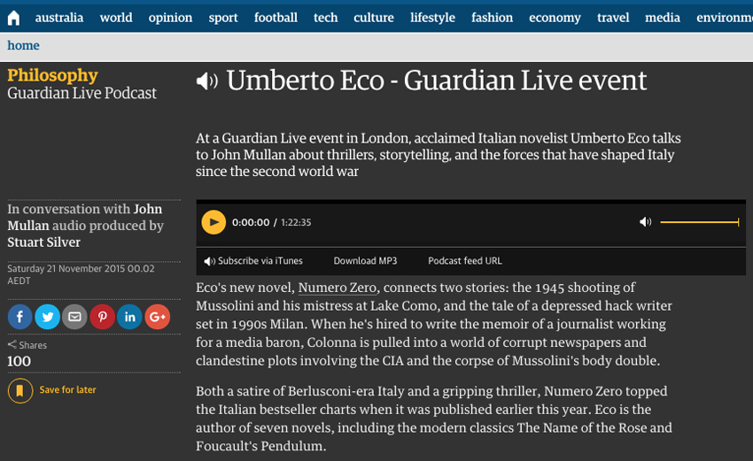 Italian course Sydney at Italia 500 - Guardian Live Event Podcast Umberto Eco