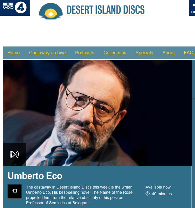 Italian lessons Sydney at Italia 500 Italian Centre for Language and Cultural Studies - Umberto Eco Desert Island Discs podcast