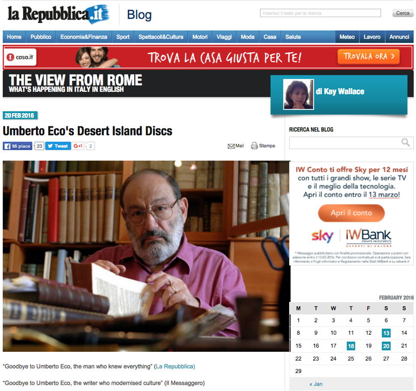 Italian courses Sydney at Italia 500 - Umberto Eco La Repubblica Blog